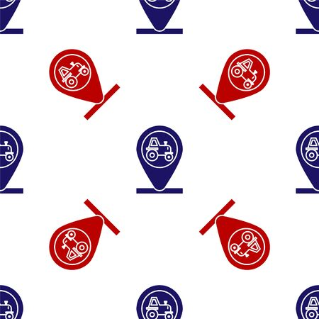 Blue and red Tractor and location icon isolated seamless pattern on white background. Vector Illustration