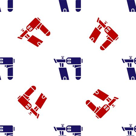 Blue and red Nail gun icon isolated seamless pattern on white background. Vector Illustration