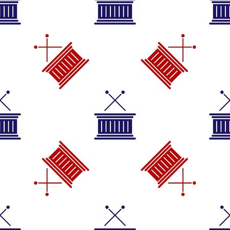 Blue and red Musical instrument drum and drum sticks icon isolated seamless pattern on white background. Vector Illustration