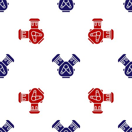 Blue and red Car engine icon isolated seamless pattern on white background. Vector Illustration