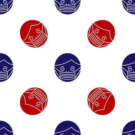 Blue and red Man face in a medical protective mask icon isolated seamless pattern on white background. Quarantine. Vector Illustration