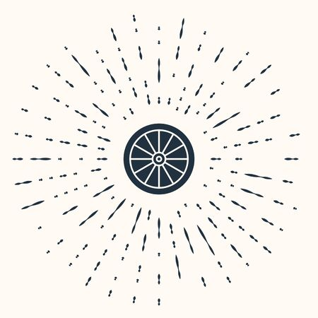 Grey Car wheel icon isolated on beige background. Abstract circle random dots. Vector Illustration
