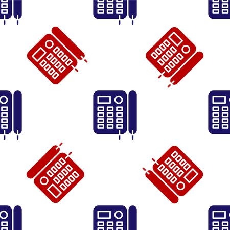 Blue and red Telephone icon isolated seamless pattern on white background. Landline phone. Vector Illustration Foto de archivo - 137432586