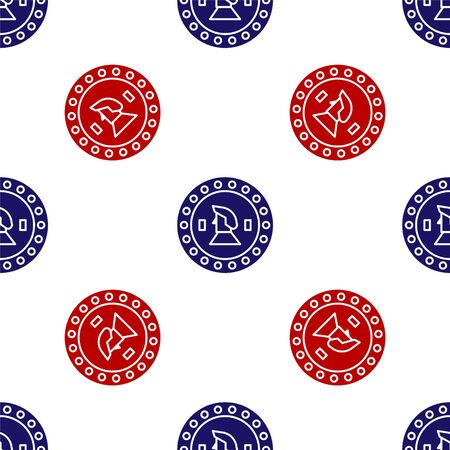 Blue and red Pirate coin icon isolated seamless pattern on white background. Vector Illustration