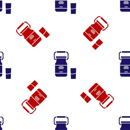 Blue and red Can container for milk and glass icon isolated seamless pattern on white background. Vector Illustration