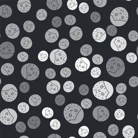 Grey Face with psoriasis or eczema icon isolated seamless pattern on black background. Concept of human skin response to allergen or chronic body problem. Vector Illustration
