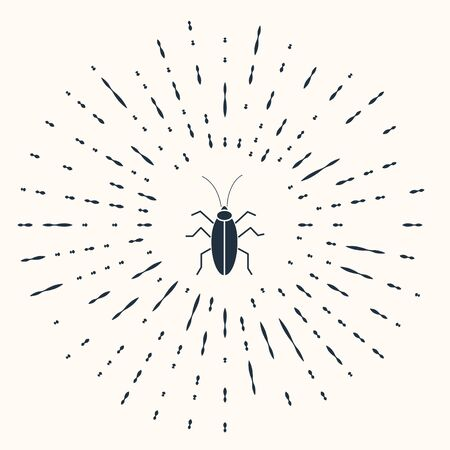 Grey Cockroach icon isolated on beige background. Abstract circle random dots. Vector Illustration Foto de archivo - 137434025