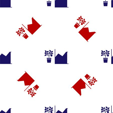 Blue and red Flower statistics icon isolated seamless pattern on white background. Vector Illustration 矢量图像