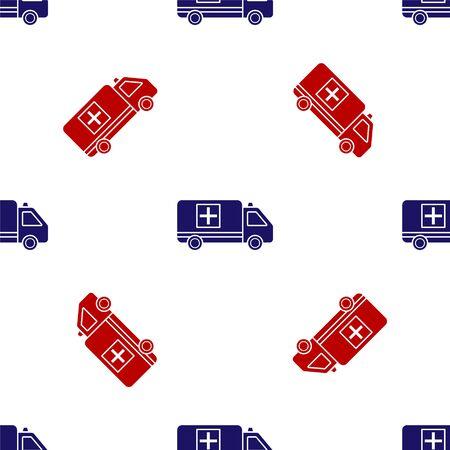 Blue and red Ambulance and emergency car icon isolated seamless pattern on white background. Ambulance vehicle medical evacuation. Vector Illustration