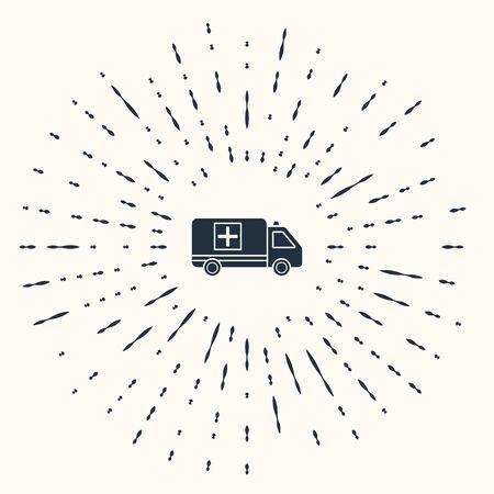 Grey Ambulance and emergency car icon isolated on beige background. Ambulance vehicle medical evacuation. Abstract circle random dots. Vector Illustration