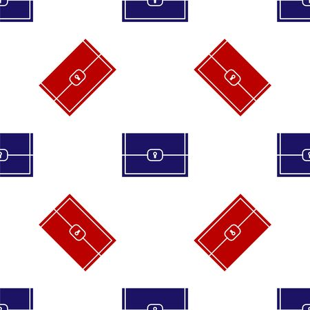 Blue and red Chest for game icon isolated seamless pattern on white background. Vector Illustration Illustration