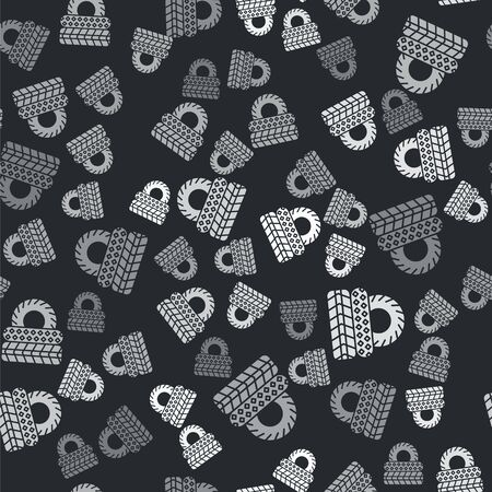 Grey Car tire icon isolated seamless pattern on black background. Vector Illustration Çizim
