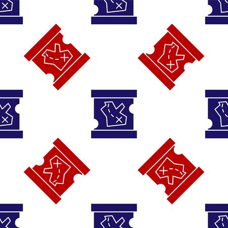 Blue and red Pirate treasure map icon isolated seamless pattern on white background. Vector Illustration