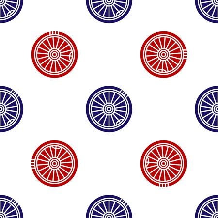 Blue and red Car wheel icon isolated seamless pattern on white background. Vector Illustration
