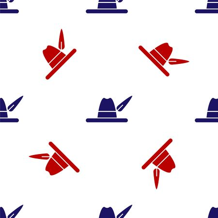 Blue and red Oktoberfest hat icon isolated seamless pattern on white background. Hunter hat with feather. German hat. Vector Illustration