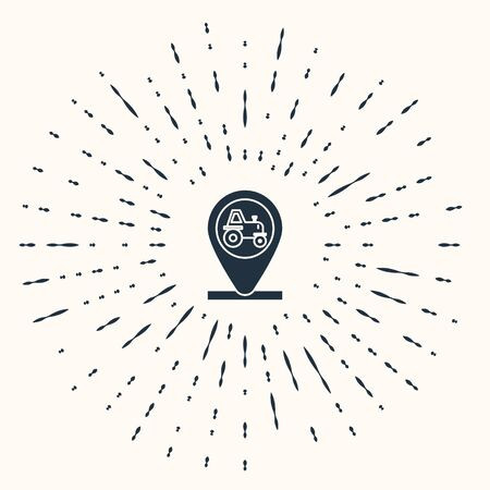 Grey Tractor and location icon isolated on beige background. Abstract circle random dots. Vector Illustration