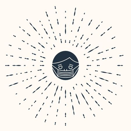Grey Man face in a medical protective mask icon isolated on beige background. Quarantine. Abstract circle random dots. Vector Illustration Illusztráció