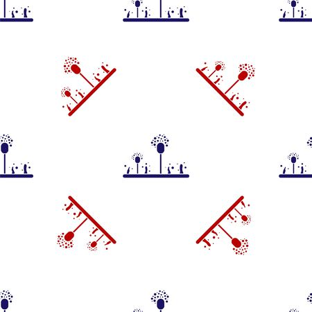 Blue and red Mold icon isolated seamless pattern on white background. Vector Illustration