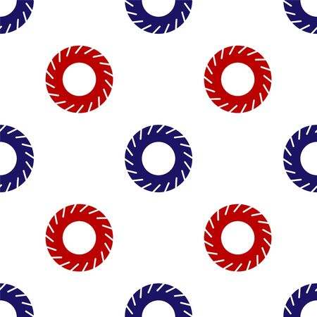 Blue and red Car tire icon isolated seamless pattern on white background. Vector Illustration
