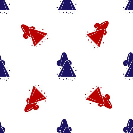 Blue and red Runny nose icon isolated seamless pattern on white background. Rhinitis symptoms, treatment. Nose and sneezing. Nasal diseases. Vector Illustration