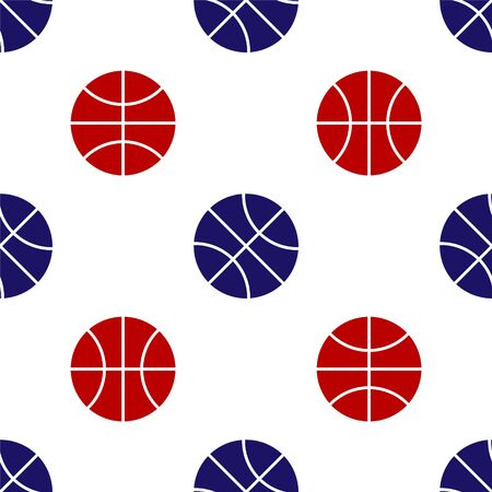 Blue and red Basketball ball icon isolated seamless pattern on white background. Sport symbol. Vector Illustration Vektorové ilustrace