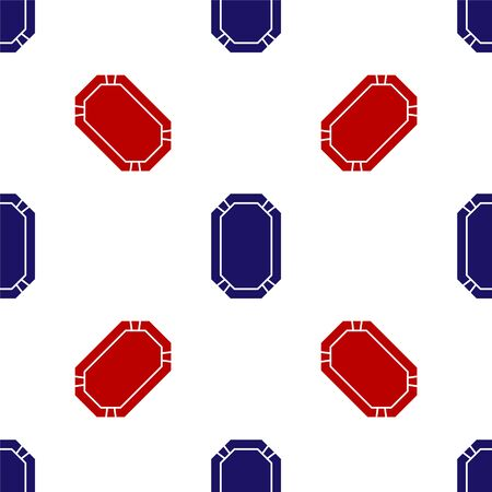 Blue and red Poker table icon isolated seamless pattern on white background. Vector Illustration
