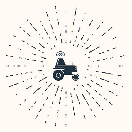Grey Self driving wireless tractor on a smart farm icon isolated on beige background. Smart agriculture implement element. Abstract circle random dots. Vector Illustration