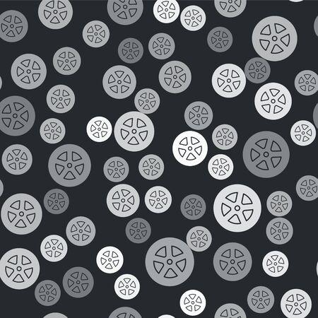 Grey Car wheel icon isolated seamless pattern on black background. Vector Illustration Çizim