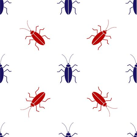 Blue and red Cockroach icon isolated seamless pattern on white background. Vector Illustration Foto de archivo - 137444061