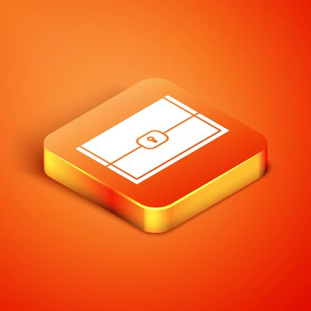Isometric Chest for game icon isolated on orange background. Vector Illustration