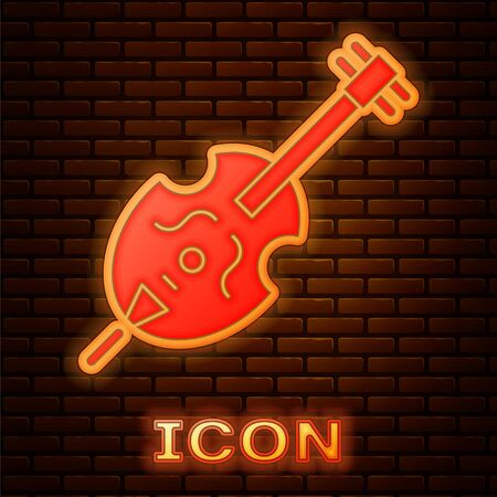 Glowing neon Violin icon isolated on brick wall background. Musical instrument. Vector Illustration Çizim