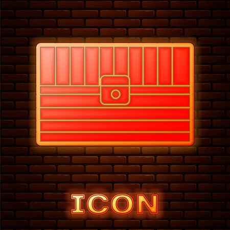 Glowing neon Antique treasure chest icon isolated on brick wall background. Vintage wooden chest with golden coin. Vector Illustration Illustration