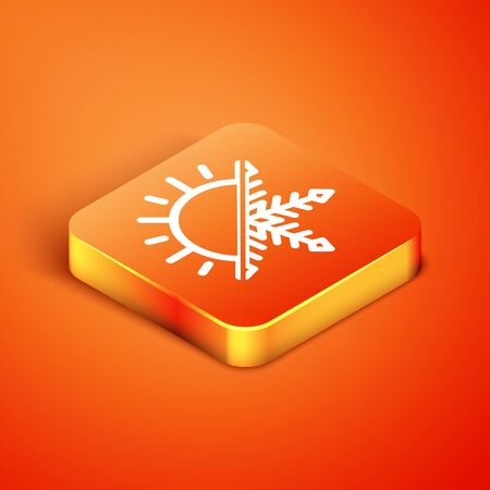 Isometric Hot and cold symbol. Sun and snowflake icon isolated on orange background. Winter and summer symbol. Vector Illustration