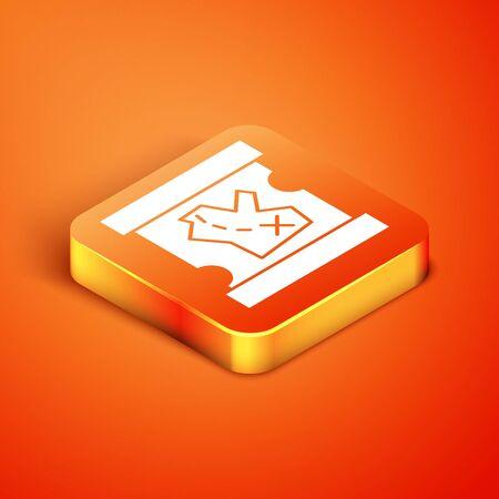 Isometric Pirate treasure map icon isolated on orange background. Vector Illustration Illustration