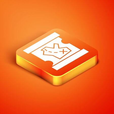 Isometric Pirate treasure map icon isolated on orange background. Vector Illustration Illustration