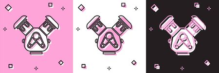 Set Car engine icon isolated on pink and white, black background. Vector Illustration