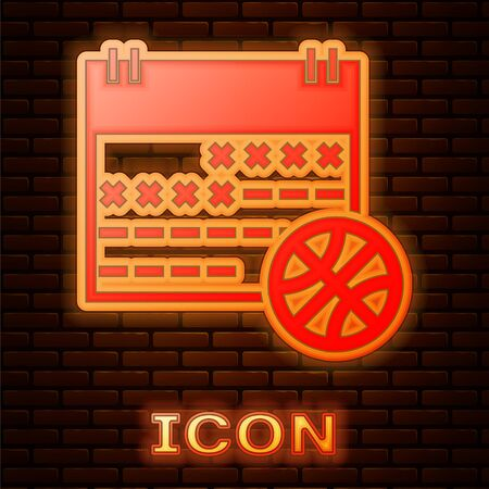 Glowing neon Basketball on sport calendar icon isolated on brick wall background. Vector Illustration
