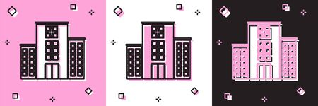 Set Medical hospital building with cross icon isolated on pink and white, black background. Medical center. Health care. Vector Illustration