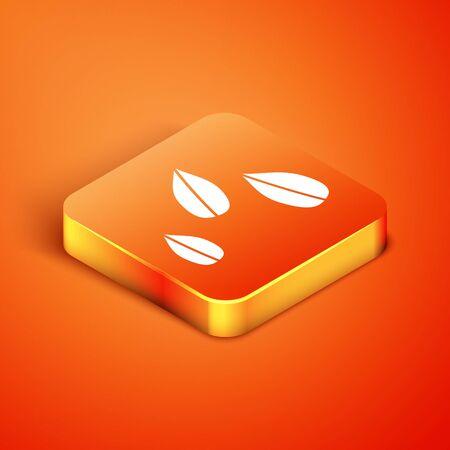 Isometric Sesame seeds icon isolated on orange background. Vector Illustration