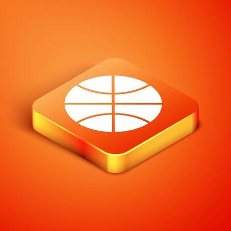Isometric Basketball ball icon isolated on orange background. Sport symbol. Vector Illustration