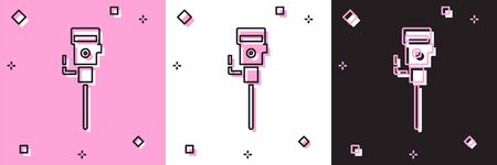 Set Construction jackhammer icon isolated on pink and white, black background. Vector Illustration