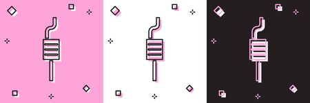 Set Car muffler icon isolated on pink and white, black background. Exhaust pipe. Vector Illustration