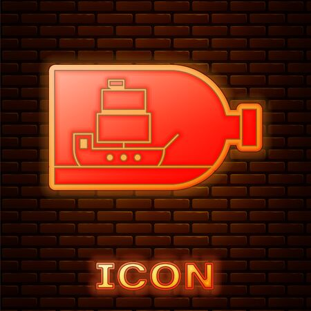 Glowing neon Glass bottle with ship inside icon isolated on brick wall background. Miniature model of marine vessel. Hobby and sea theme. Vector Illustration