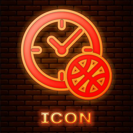 Glowing neon Clock with basketball ball inside icon isolated on brick wall background. Basketball time. Sport and training. Vector Illustration
