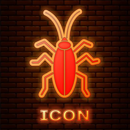 Glowing neon Cockroach icon isolated on brick wall background. Vector Illustration Foto de archivo - 137475694