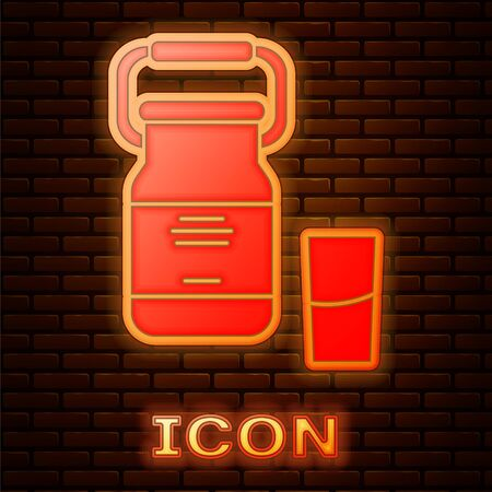 Glowing neon Can container for milk and glass icon isolated on brick wall background. Vector Illustration