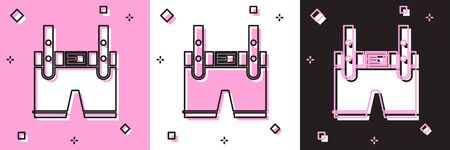 Set Lederhosen icon isolated on pink and white, black background. Traditional bavarian clothing. Oktoberfest outfit. Pants with suspenders. Patrick day. Vector Illustration