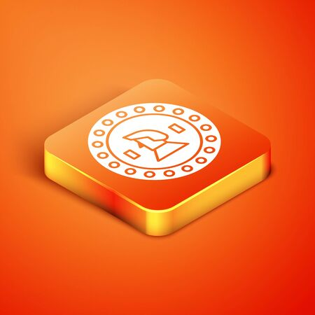 Isometric Pirate coin icon isolated on orange background. Vector Illustration