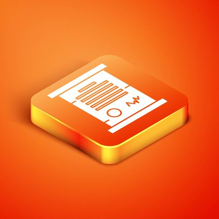 Isometric Decree, paper, parchment, scroll icon icon isolated on orange background. Vector Illustration Ilustração