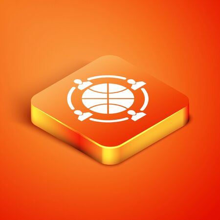 Isometric Clock with basketball ball inside icon isolated on orange background. Basketball time. Sport and training. Vector Illustration Çizim
